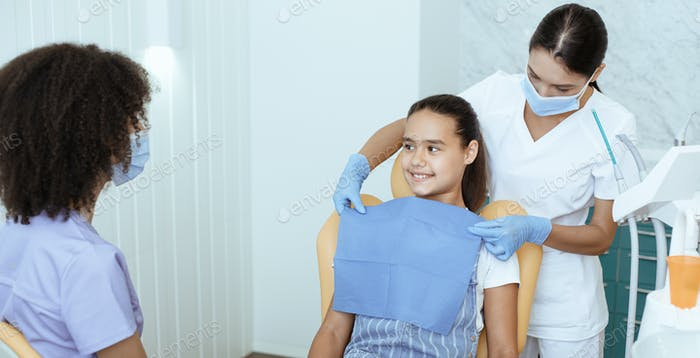 Preparation for examination and treatment of oral cavity, orthodontics and pediatric dentist