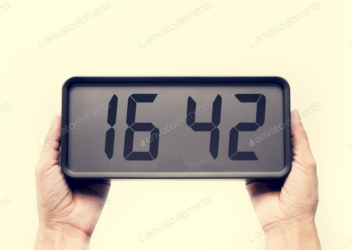 Digital clock on isolated on white