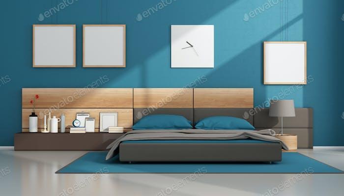 Blue contemporary bedroom