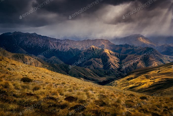 Dramatic mountains landscape near Queenstown, New Zealand