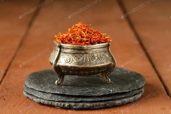 Saffron Spice in Metal Bowl
