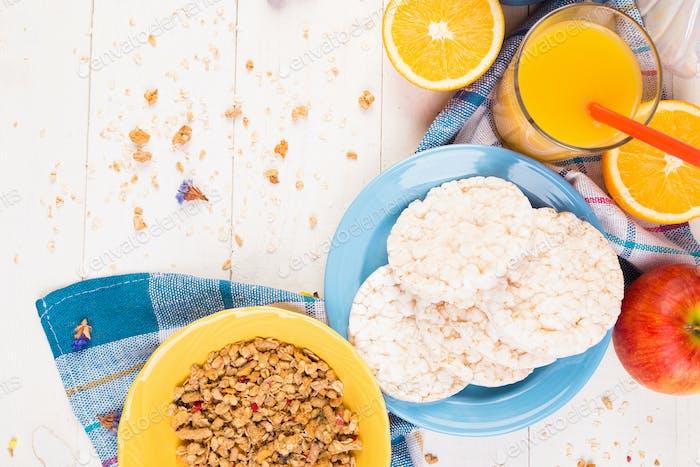 Healthy Breakfast. Various Assortment Set. Orange Juice, Granola, Coffee and Fruit.