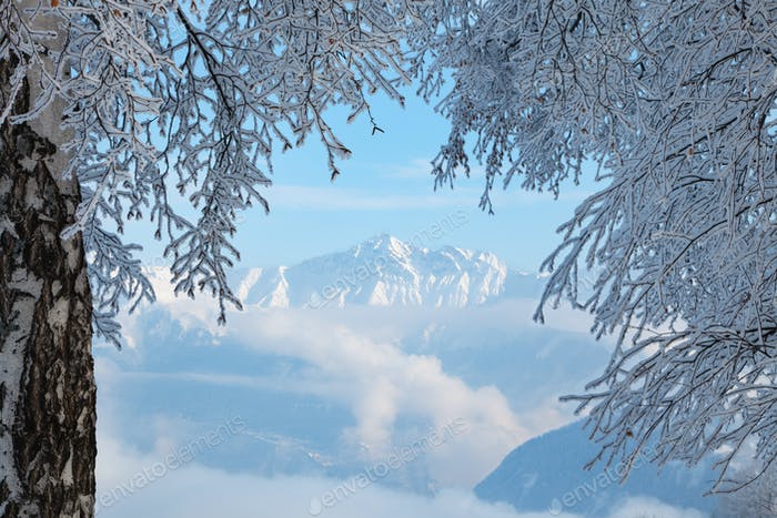 View Of Mountain In The Alps Of France In Winter