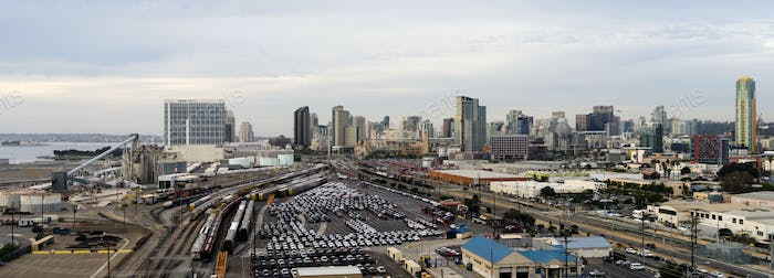 San Diego California Downtown City Skyline Including Port and Railroad Yard