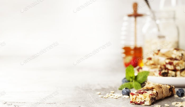 Granola bar on a grey rustic table