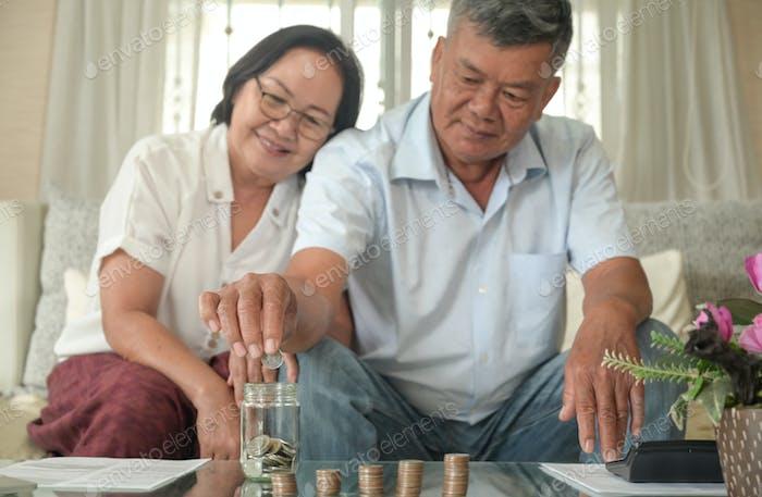 Older men and women happily save money.