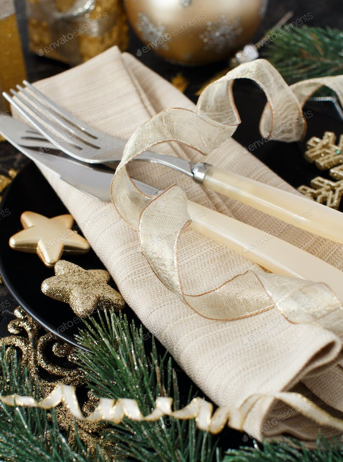 Golden and black Christmas Table Setting