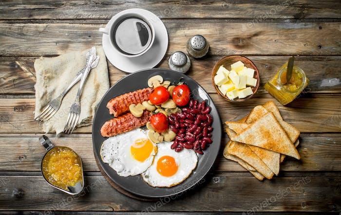 traditional English breakfast. Snacks with fresh coffee.