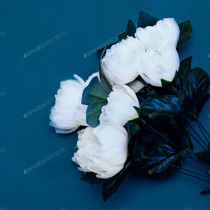 Plastic white roses. Minimal art