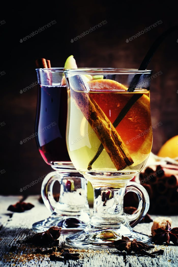 Hot mulled wine from red and dry white wine with fruit and spices