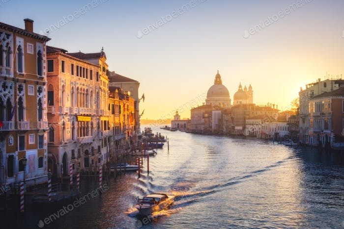 Scenic view of Grand canal and Santa Maria della Salute cathedral in Venice