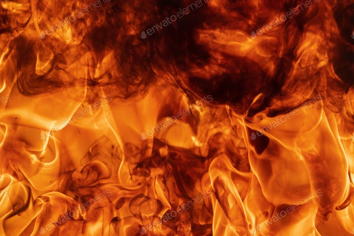 Abstract Red Fire Natural Texture with Flames. Beautiful Dangerous Firestorm Abstract Background