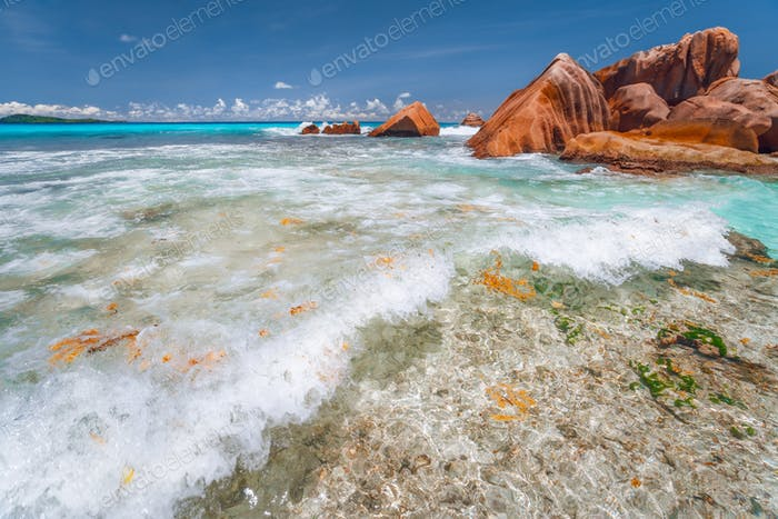 Thumbnail for Anse Cocos la Digue, Seychelles. Secluded Tropical paradise Beach. White wave rolling towards the
