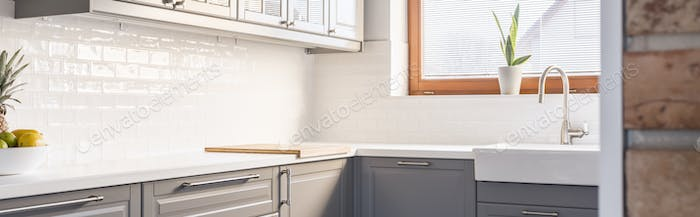 Grey units in kitchen