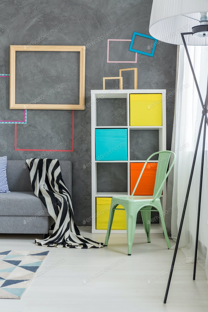Colored furniture in the room