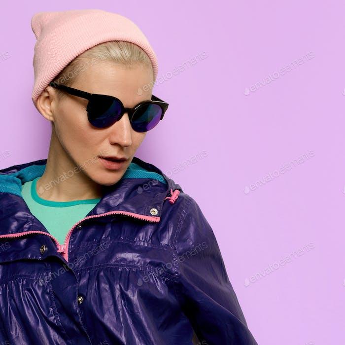 Hipster fashion model Minimal Outfit Fashion Sunglasses Beanie C
