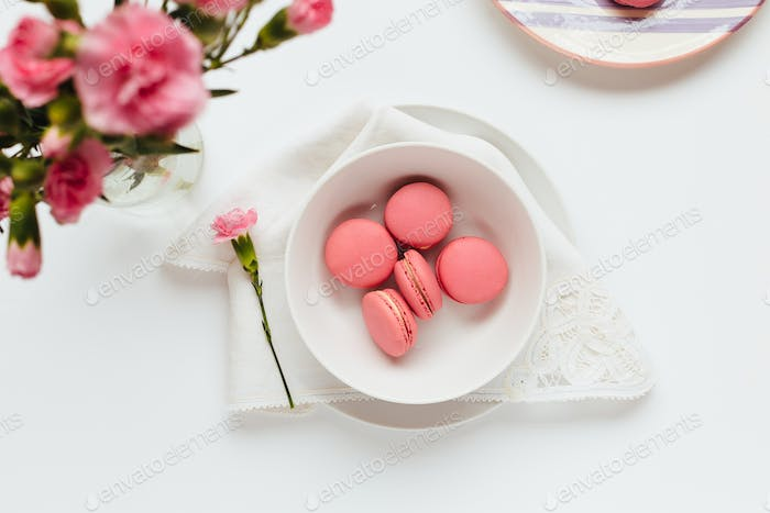 Strawberry Macarons on White Table