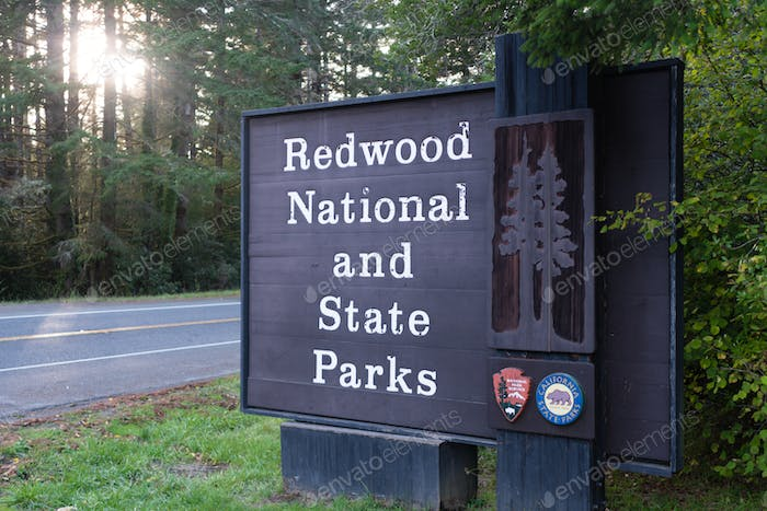 Redwood National and State Parks California Entrance Sign