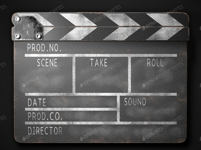 Clapperboard on a dark background front view. 3d rendering.