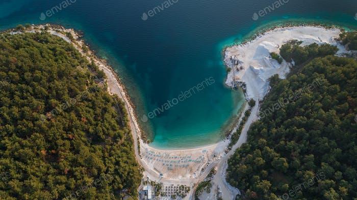Porto Vathy Marble Beach in Thassos Island Greece