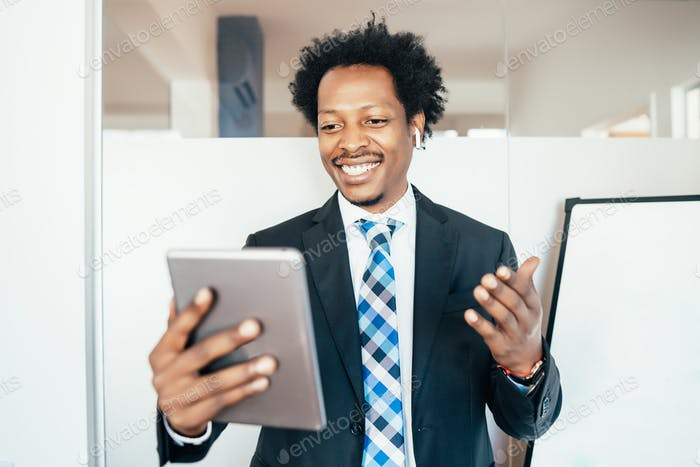 Businessman on a video call.