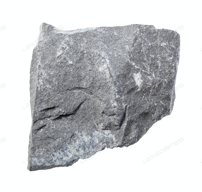 unpolierte graue Argillite Gestein isoliert auf weiß