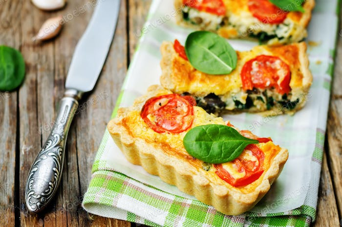 Thumbnail for spinach, tomatoes, mushroom quiche