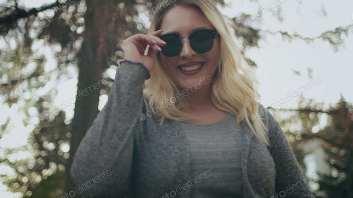 Blonde Woman Plus Size Wear Sunglasses Outside