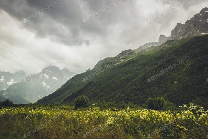 mountains with green grass and stormy sky