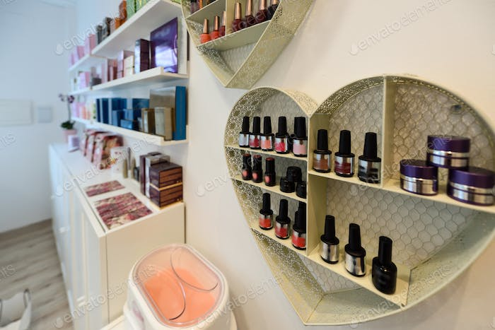 Cosmetic section with nail polish, facial cream, conditioners, s