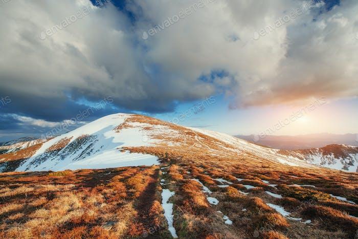 Spring mountain landscape. Snowy Mountains