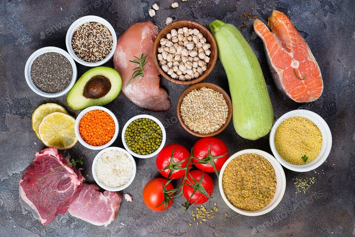 Healthy food eating сertain Protein Prevents Cancer: fish, meat, spice, vegetable, cereal