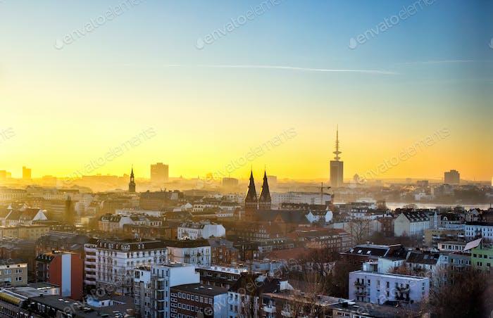 Panoramic view of Hamburg city at sunset