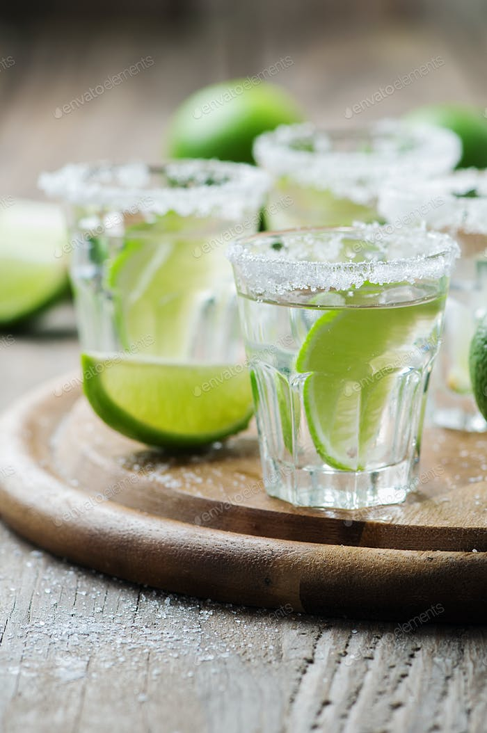 Silver mexican tequila with lime