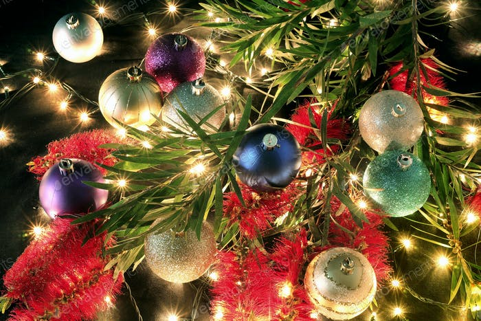 Christmas Baubles and Bottlebrush