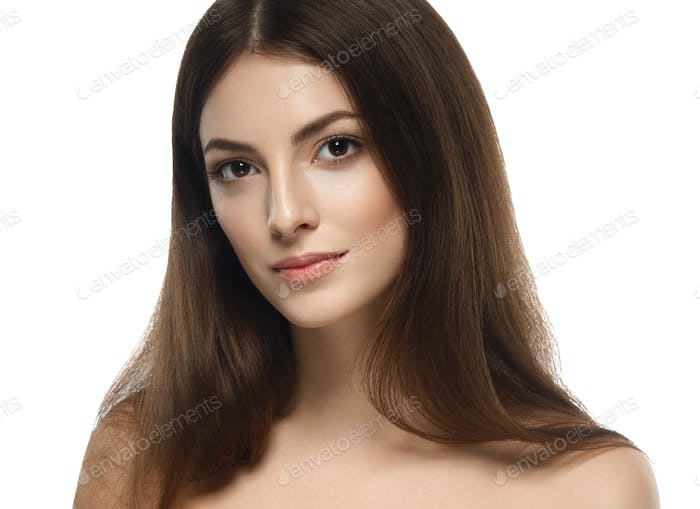 Beautiful woman happy portrait with long hair close up studio on white