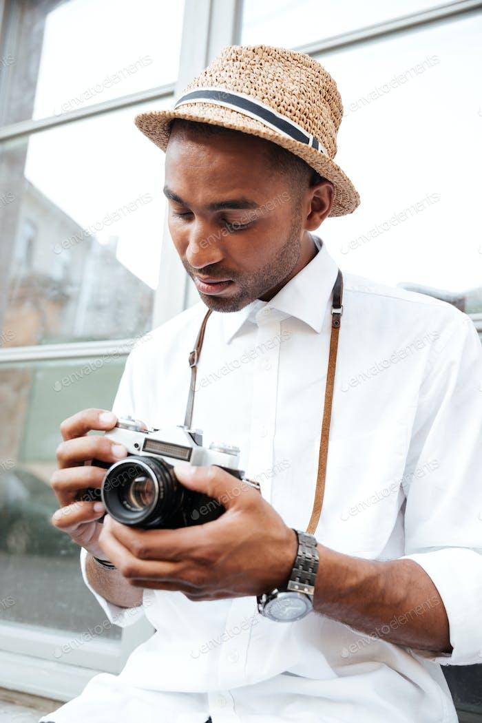 Close up image of fashion black man