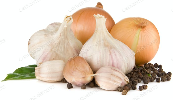 garlics and onion isolated on white