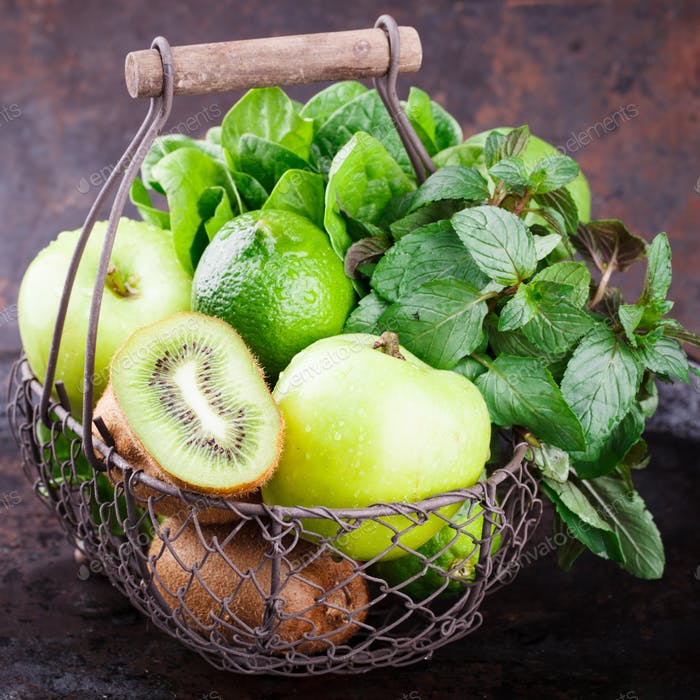Basket of green fruit.