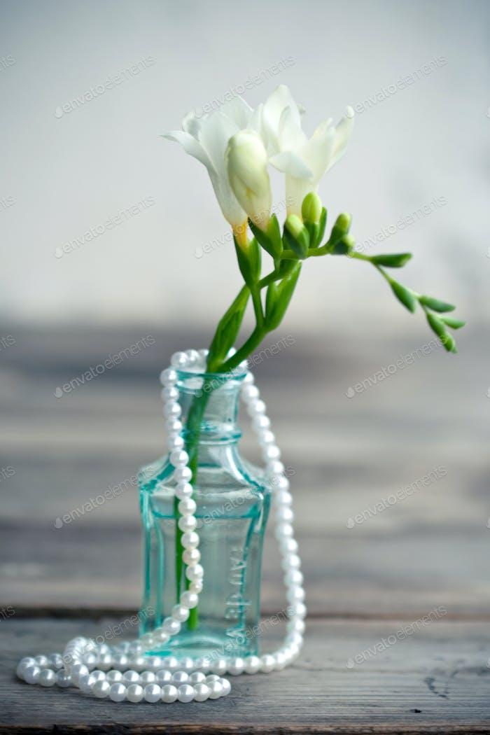 White freesia flowers in decorative bottles