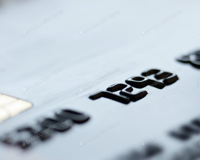 Macro photo of credit or debit card with space for text