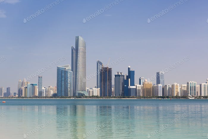 Daylight Abu Dhabi Skyline with skyscrapers