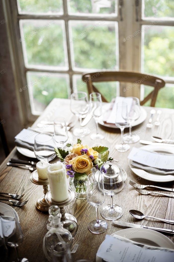 Elegant Restaurant Table Setting Service for Reception with Menu