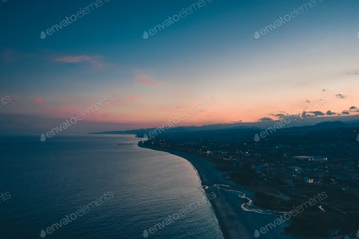 Aerial view of the Ionian coast of Calabria at sunset