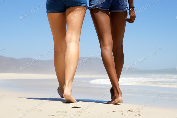 Two women walking barefoot on beach from behind