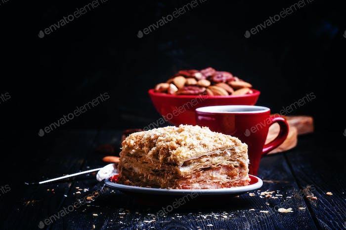 Puff cake with custard