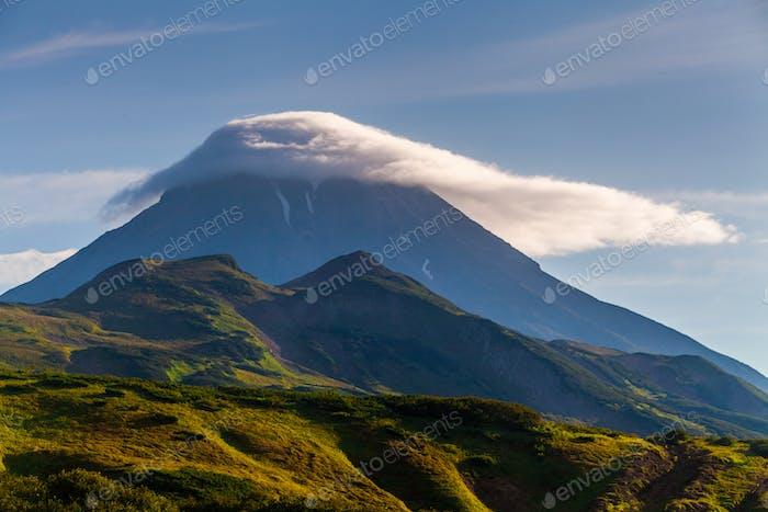 Classic active stratovolcano Vilyuchinsky Russia, Kamchatka