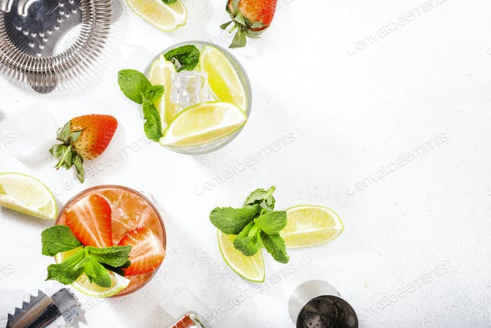 Cold alcoholic non-alcoholic long drinks, beverages and cocktails