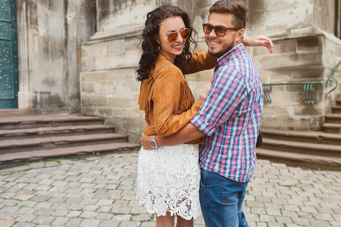young couple in love traveling
