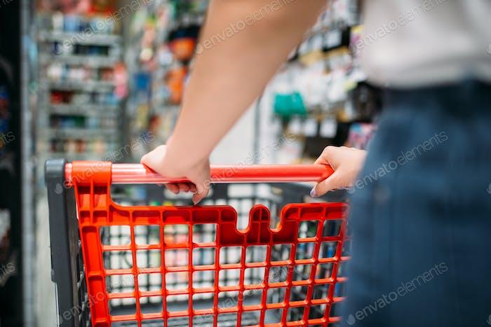 Weibliche Kundin mit Wagen im Lebensmittelgeschäft, Rückansicht